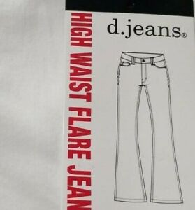 "FLAIR LEG jeans HIGH WAIST stretchy d.jeans White New 10""opening 6 8 10 12 14 16"