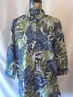 Caribbean Joe Womens Shirt Size L Blue Green Floral Button Front 3/4 Sleeve