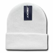 Solid White Ribbed Watch Cap Beanie Knit Winter Hat Stretch Snowmobile Ski  Decky d465dd999cf6