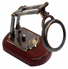 Nautical Brass Antique Magnifying Watts & Sons Ltd Wooden Base Magnifier
