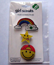 Cute Girl Scout 3 ACRYLIC & BUTTON PIN SET Trefoil Rainbow Star Jewelry GIFT
