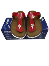 BIRKENSTOCK Gizeh Tango Red Patent Womens Sandals Thongs 7 Narrow Fit 38 NEW