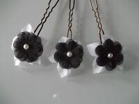 3 Fleur Accessoire Cheveux/Epingle/Pic chignon robe de Mariée/Mariage Blanc/Noir