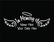 In Memory of Decal Car Custom Window Vinyl Sticker with Angel Wings