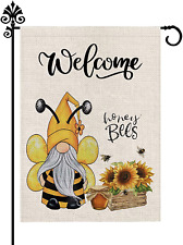 Summer Garden Flag Gnomes Sunflower Welcome Burlap Vertical Double Sided Outdoor