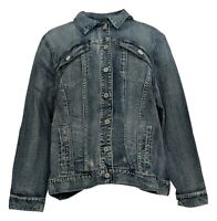 Laurie Felt Women's Plus 2X Denim Jacket Button Front Collar Blue A290645