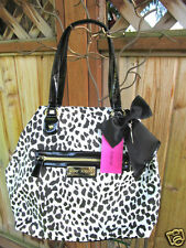 Betsey Johnson Betseyville Leopard Tote Handbag Black White With Bow NWT