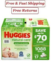 Huggies Natural Care Sensitive Baby Wipe Refill, Fragrance Free (1,088 ct.)