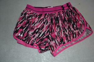 23190-a Womens Under Armour Gym Shorts Workout Size Small Pink Polyester