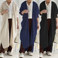 UK Womens Long Sleeve Irregular Hem Casual Loose Cardigan Kaftan Maxi Top Blouse