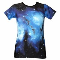 Women's Blue Galaxy Planets Cosmos Space Print Crew Neck T-Shirt Top Size 8-22