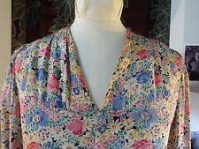 RARE Original Vintage 20's Deco Flapper Floral Silk (?) Day Dress 8 - 10