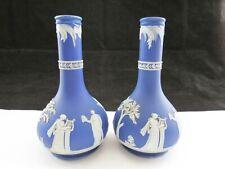 Rare Pair Of Antique Dark Blue Wedgwood Jasperware Bud Vases Circa 1890