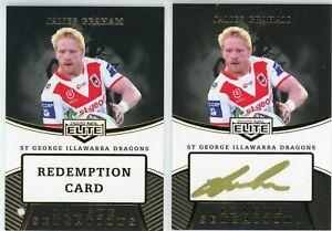 2020 Elite James Graham Dragons League Sensations Black Signature NRL Card 37/40