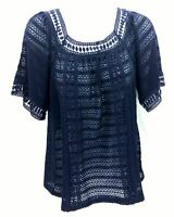 John Paul Richard Women's Textured Casual Top Short Sleeve Navy Blue Size Small