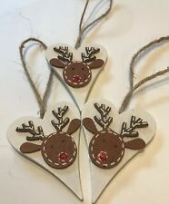 3 X Reindeer Christmas Hanging Decorations Shabby Chic Nordic Real Wood Jute