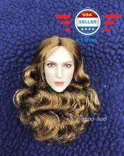 IN STOCK█1//6 European American Female Sculpt w// SHORT curly hair in PALE