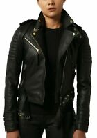 NOORA New Women Genuine Lambskin Leather Black Jacket bomber Biker Modern QD244