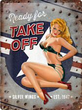 Ready Take Off Classic Retro 40's 50's Pin Up Girl Large 3D Metal Embossed Sign