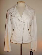 BLACK RIVET - WILSON LEATHER MS SIZE MEDIUM WHITE TEXTURED FAUX LEATHER JACKET