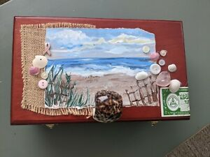 Hand Painted Wooden Cigar Box breast cancer ribbon seascape shells