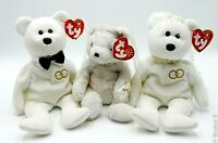 Lot of 3 TY Beanie Babies MR & MRS & Bride Plush Stuffed Animals