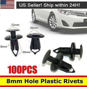 100Pcs Hole Dia Plastic Rivets Fastener Fender Bumper Push Pin Clips for Car 8mm