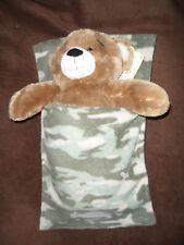 Build a bear teddy sleeping bag blanket pocket Green camouflage snuggle soft