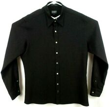 DKNY Donna Karan NY Mens Shirt XL Long Sleeve Button Up Black with Silver Specks
