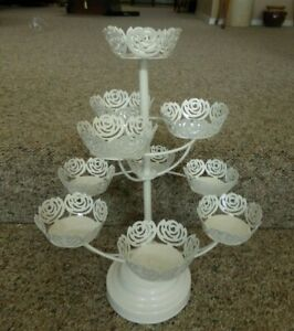 Cupcake Holder Stand White Metal Lovely Holds 9