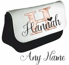 Personalised Name Inital Rose gold marble effect Name Pencil Case make up bag