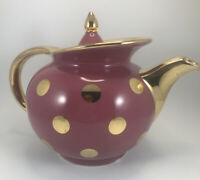 Vintage Hall China Co. Teapot 0694GL Mauve Rose Gold Polka Dot Windshield Rare