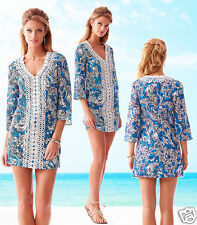 Lilly Pulitzer Brooke V-neck Ariel Blue Hippy Shake Lace Tunic Dress Sz-m