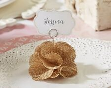 6 Rustic Vintage Burlap Rose Wedding Party Place Card Holder Favors Romantic