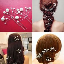 2pcs New Elegant Bridal Bridesmaid Wedding Pearls Hair Pins Clips Comb Headband