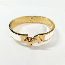 NIB- Hermes Clic Clac H PM Bangle white Enamel Gold  Bracelet Narrow
