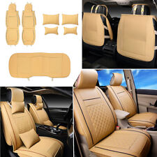 7Pcs Car 5 Seat Cover Size L PU Leather Front & Rear Cushion + Pillow Set USA