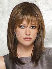 100% Human Hair!Fashion Noble Medium Straight Wig Women Natural Brown Hair