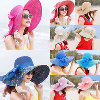Women's Wide Brim Straw Bucket Hats Bowknot Floppy Boho Sun Beach Foldable Caps