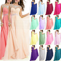 Prom Bridesmaid Dresses crew with crystals Floor Length Evening Dress Size 6++18