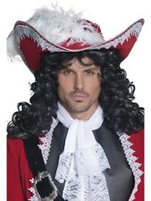 AUTHENTIC PIRATE HAT MENS LADIES DELUXE RED PIRATES HAT FANCY DRESS ACCESSORY