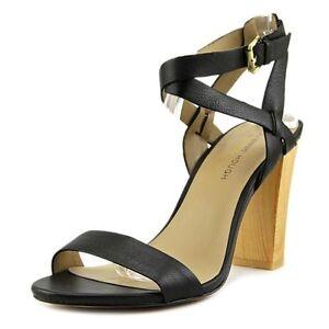 Julianne Hough Sole Society Kris Black Nappa Leather Wood High Heels Strap 11