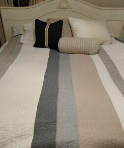 Nautica King Stripe Quilt Bedspread Beach Coastal Tidewater Coverlet Bedspread