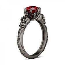 Skull Women Men 925 Silver Ring Ruby Wedding Engagement Ring Size 7