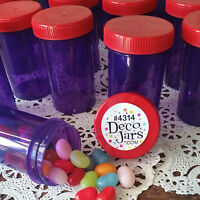 18 Purple JARS Plastic Container Red Hat #4314 USA Party Favor Candy DecoJars