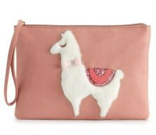 LC Lauren Conrad Animal Zip Pouch Furry Lama Grab and Go Wrist Pouch Rose Color