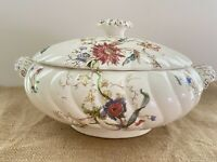 Antique Footed Oval Tureen With Lid Gorgeous Floral Pattern Swirled