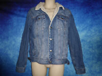 TOPMAN Blue Denim Jacket - Winter / Lined - Aviator style - Size Medium TOP MAN