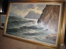 "GUIDO ODIERNA Original Oil Painting Canvas 24""x36"" Signed Capri Italty Coast"