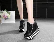 Damen Creepers Wedge Sneaker Lässige Platform Hidden Heel Athletic schick Schuhe